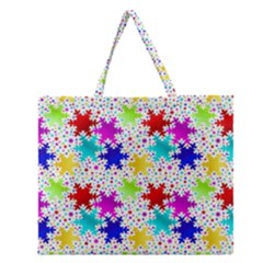 Snowflake Pattern Repeated Zipper Large Tote Bag by Amaryn4rt