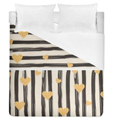 Black Lines And Golden Hearts Pattern Duvet Cover (queen Size)