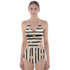 Black Lines And Golden Hearts Pattern Cut-out One Piece Swimsuit by TastefulDesigns