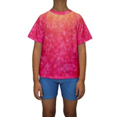 Abstract Red Octagon Polygonal Texture Kids  Short Sleeve Swimwear by TastefulDesigns