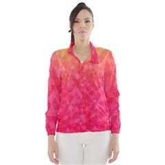 Abstract Red Octagon Polygonal Texture Wind Breaker (women) by TastefulDesigns