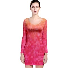 Abstract Red Octagon Polygonal Texture Long Sleeve Velvet Bodycon Dress by TastefulDesigns