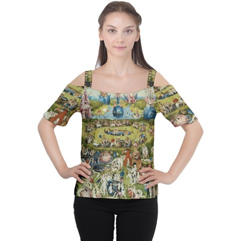 Hieronymus Bosch Garden Of Earthly Delights Women s Cutout Shoulder Tee by MasterpiecesOfArt