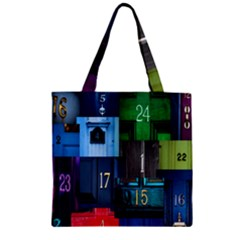 Door Number Pattern Zipper Grocery Tote Bag by Amaryn4rt