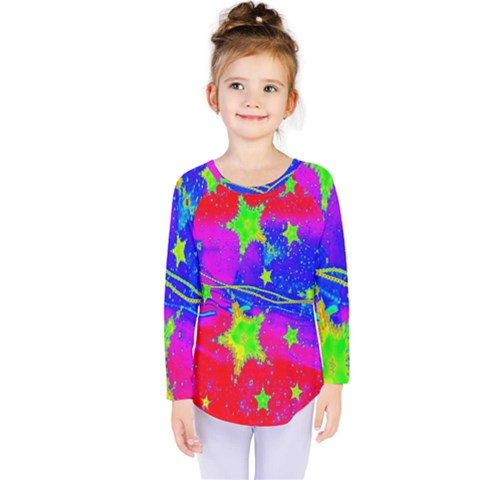 Red Background With A Stars Kids  Long Sleeve Tee by Amaryn4rt