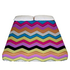 Chevrons Pattern Art Background Fitted Sheet (queen Size) by Amaryn4rt
