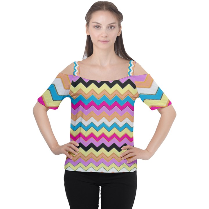 Chevrons Pattern Art Background Women s Cutout Shoulder Tee