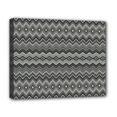 Greyscale Zig Zag Deluxe Canvas 20  X 16   by Amaryn4rt