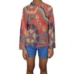 Vintage Chinese Brocade Kids  Long Sleeve Swimwear by Amaryn4rt