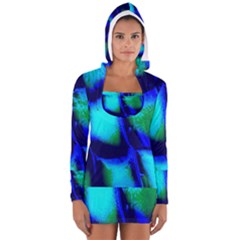 Blue Scales Pattern Background Women s Long Sleeve Hooded T Shirt
