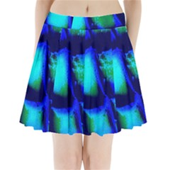 Blue Scales Pattern Background Pleated Mini Skirt