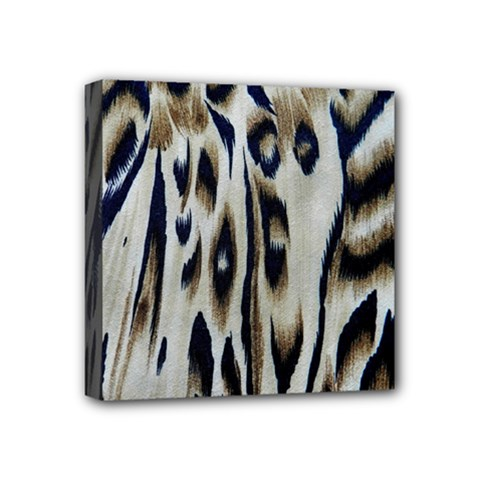 Tiger Background Fabric Animal Motifs Mini Canvas 4  X 4  by Amaryn4rt