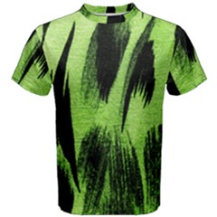 Green Tiger Background Fabric Animal Motifs Men s Cotton Tee