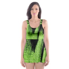 Green Tiger Background Fabric Animal Motifs Skater Dress Swimsuit by Amaryn4rt