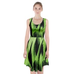 Green Tiger Background Fabric Animal Motifs Racerback Midi Dress by Amaryn4rt