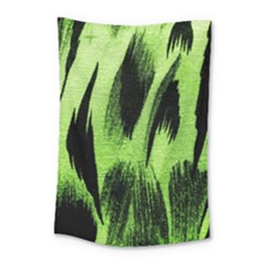 Green Tiger Background Fabric Animal Motifs Small Tapestry by Amaryn4rt