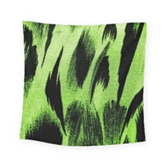 Green Tiger Background Fabric Animal Motifs Square Tapestry (small)