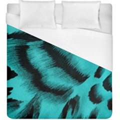 Blue Background Fabric Tiger  Animal Motifs Duvet Cover (king Size) by Amaryn4rt