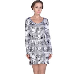 Old Comic Strip Long Sleeve Nightdress by Valentinaart