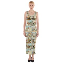 Old Comic Strip Fitted Maxi Dress by Valentinaart