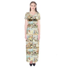Old Comic Strip Short Sleeve Maxi Dress by Valentinaart