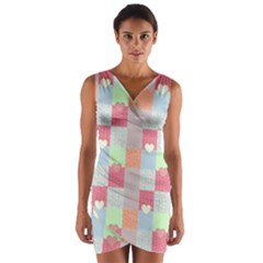 Patchwork Wrap Front Bodycon Dress by Valentinaart