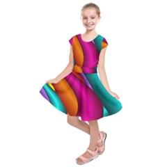 Fractal Wallpaper Color Pipes Kids  Short Sleeve Dress by Amaryn4rt