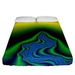 Fractal Wallpaper Water And Fire Fitted Sheet (queen Size) by Amaryn4rt