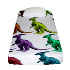 Multicolor Dinosaur Background Fitted Sheet (single Size) by Amaryn4rt