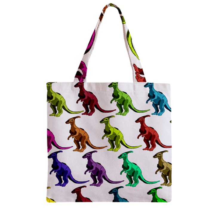 Multicolor Dinosaur Background Zipper Grocery Tote Bag