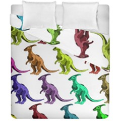 Multicolor Dinosaur Background Duvet Cover Double Side (california King Size) by Amaryn4rt