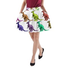 Multicolor Dinosaur Background A Line Pocket Skirt by Amaryn4rt