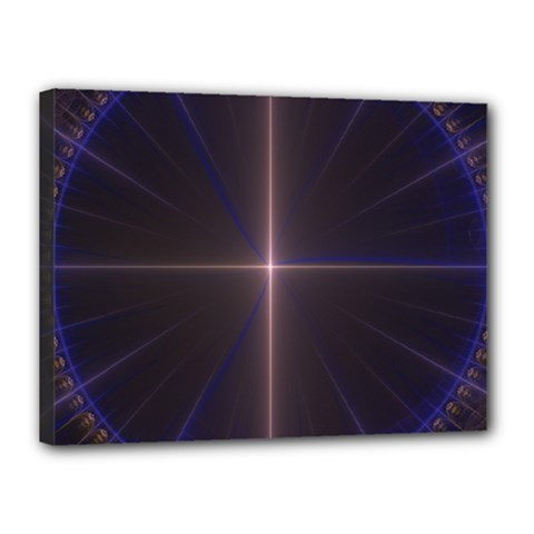Color Fractal Symmetric Blue Circle Canvas 16  X 12  by Amaryn4rt