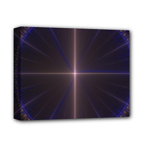 Color Fractal Symmetric Blue Circle Deluxe Canvas 14  X 11  by Amaryn4rt