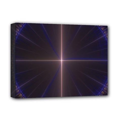 Color Fractal Symmetric Blue Circle Deluxe Canvas 16  X 12   by Amaryn4rt