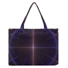 Color Fractal Symmetric Blue Circle Medium Zipper Tote Bag by Amaryn4rt