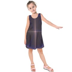Color Fractal Symmetric Blue Circle Kids  Sleeveless Dress by Amaryn4rt