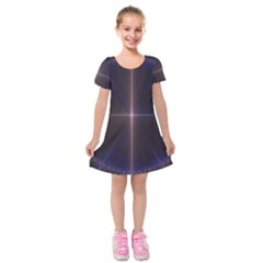 Color Fractal Symmetric Blue Circle Kids  Short Sleeve Velvet Dress by Amaryn4rt