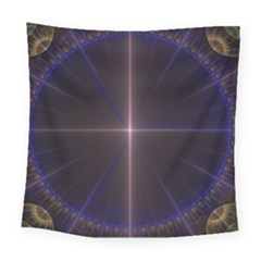 Color Fractal Symmetric Blue Circle Square Tapestry (large)