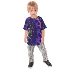Blue Digital Fractal Kids  Raglan Tee by Amaryn4rt