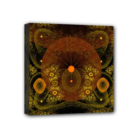 Fractal Yellow Design On Black Mini Canvas 4  X 4  by Amaryn4rt