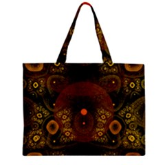 Fractal Yellow Design On Black Zipper Mini Tote Bag by Amaryn4rt
