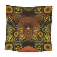 Fractal Yellow Design On Black Square Tapestry (large)