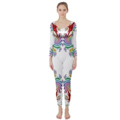 Fractal Kaleidoscope Of A Dragon Head Long Sleeve Catsuit by Amaryn4rt