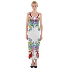 Fractal Kaleidoscope Of A Dragon Head Fitted Maxi Dress by Amaryn4rt