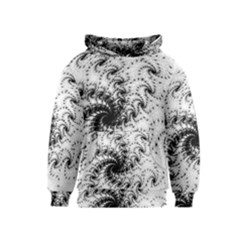 Fractal Black Spiral On White Kids  Pullover Hoodie