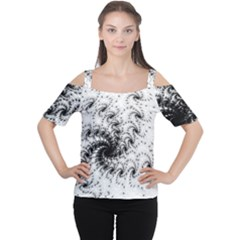 Fractal Black Spiral On White Women s Cutout Shoulder Tee