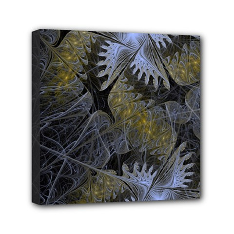 Fractal Wallpaper With Blue Flowers Mini Canvas 6  x 6