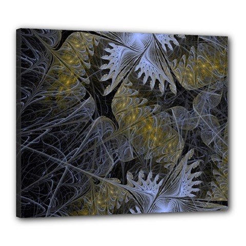 Fractal Wallpaper With Blue Flowers Canvas 24  x 20