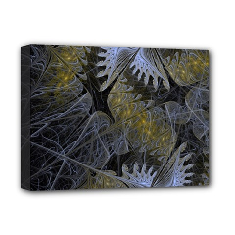 Fractal Wallpaper With Blue Flowers Deluxe Canvas 16  x 12